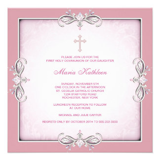 Primera comunión del damasco de la cruz del rosa r anuncio