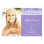 Primera comunión del damasco de la foto púrpura de anuncio
