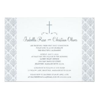 Primera comunión del damasco gris y blanco invitación 12,7 x 17,8 cm