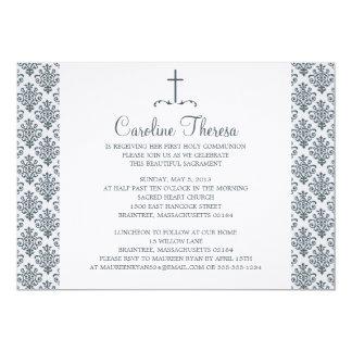Primera comunión del damasco invitación 12,7 x 17,8 cm