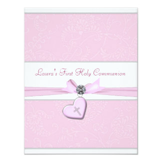 Primera comunión del remolino del corazón de la invitación 10,8 x 13,9 cm