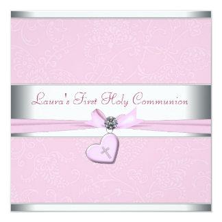 Primera comunión del remolino del corazón de la invitación 13,3 cm x 13,3cm