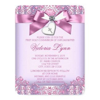 Primera comunión del rosa y de la púrpura invitación 10,8 x 13,9 cm
