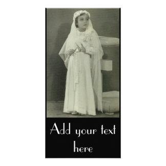 Primera comunión del vintage tarjeta fotográfica personalizada