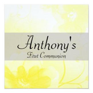 Primera comunión elegante de la flor amarilla y invitación 13,3 cm x 13,3cm