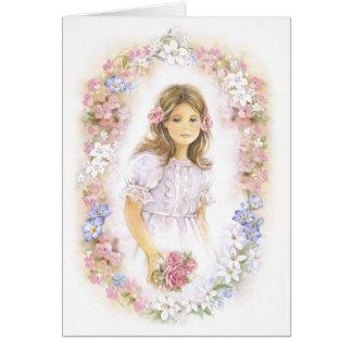 Primera comunión santa, chica de la confirmación tarjeta de felicitación