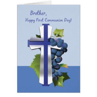 Primera comunión santa de Brother, azul y CRO (coo Tarjeta
