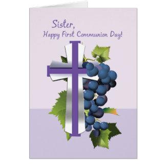 Primera comunión santa de la hermana, púrpura y CR Tarjeta