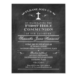 Primera comunión santa de la pizarra decorativa invitación 10,8 x 13,9 cm