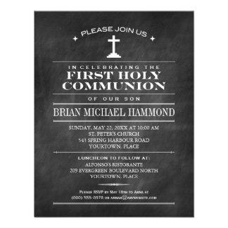 Primera comunión santa de la pizarra simple invitaciones personalizada