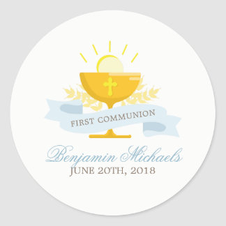 Primera comunión santa de los muchachos pegatina redonda