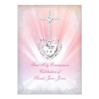 Primera comunión santa divinamente 2 rosados invitación 12,7 x 17,8 cm