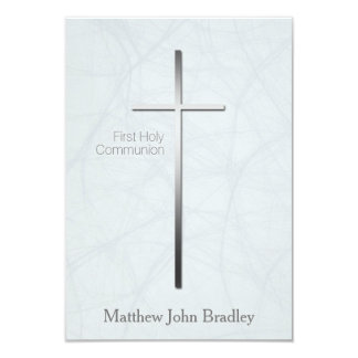 Primera comunión santa en azul - personalizado invitación 8,9 x 12,7 cm