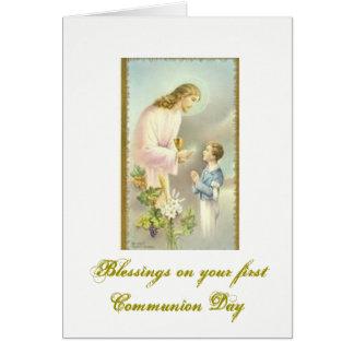 Primera comunión santa - enhorabuena - tarjeta de felicitación