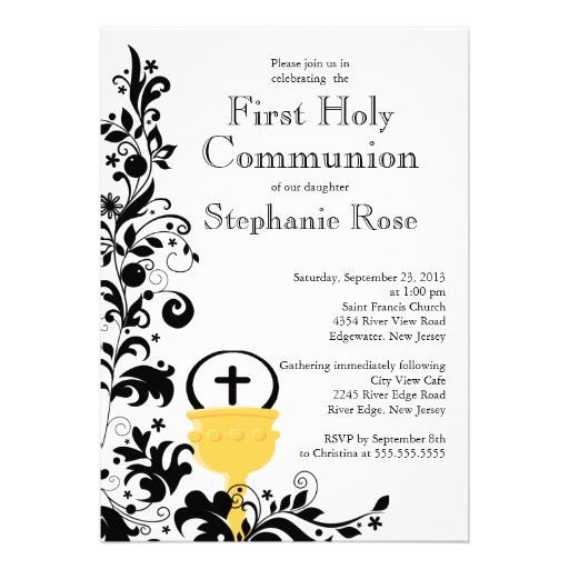 Primera comunión santa floral negra moderna anuncios personalizados