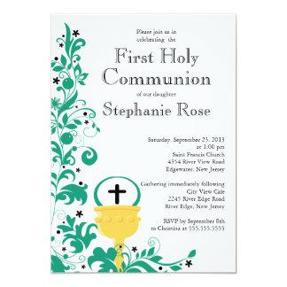 Primera comunión santa floral verde moderna invitaciones personales