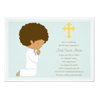 Primera comunión santa - invitación azul del |