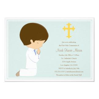 Primera comunión santa - invitación azul del  