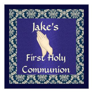 Primera comunión santa INVITATIO del DAMASCO azul Anuncios