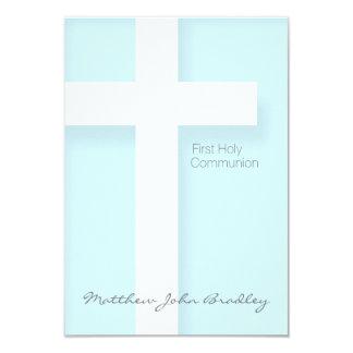 Primera comunión santa moderna en azul invitación 8,9 x 12,7 cm