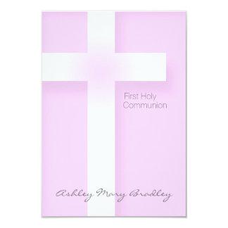 Primera comunión santa moderna en el rosa - invitación 8,9 x 12,7 cm