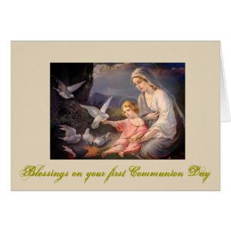 Primera comunión santa para el chica y el muchacho tarjeta de felicitación