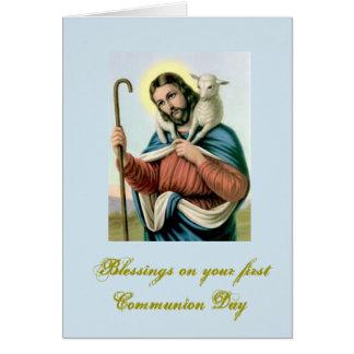 Primera comunión santa - para la enhorabuena - tarjeta