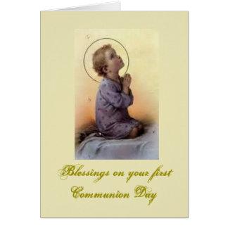 Primera comunión santa - para la enhorabuena - tarjeta de felicitación