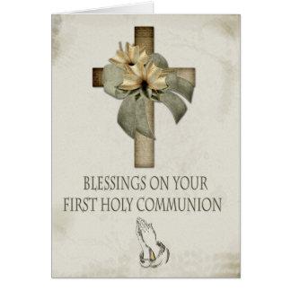 Primera comunión santa tarjeta de felicitación