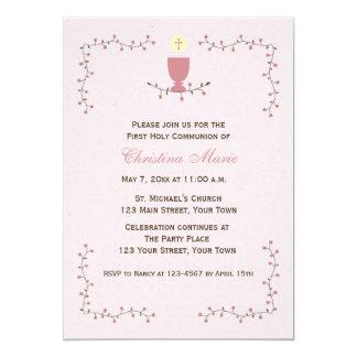 Primera comunión, vides florales con cáliz rosada invitación 12,7 x 17,8 cm