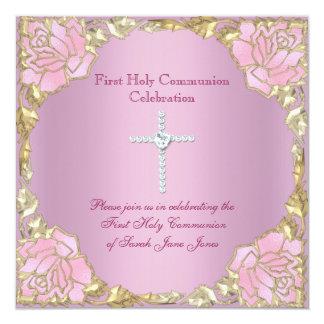 Primera cruz 2 de la plata del oro del rosa de la invitación 13,3 cm x 13,3cm
