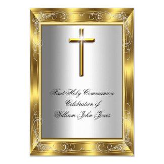 Primera cruz 2 del oro de la plata de la comunión invitación 8,9 x 12,7 cm