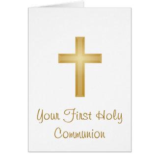 Primera cruz de la comunión santa/del oro tarjeta de felicitación