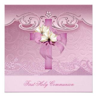 Primera cruz del rosa de la comunión santa del chi invitacion personalizada