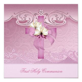 Primera cruz del rosa de la comunión santa del invitacion personalizada