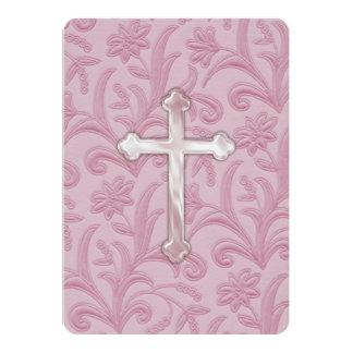 """Primera cruz """"grabada en relieve"""" de la comunión invitación 12,7 x 17,8 cm"""