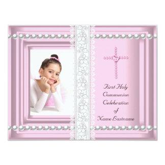 Primera foto del rosa del cordón del rosa de la invitación 10,8 x 13,9 cm