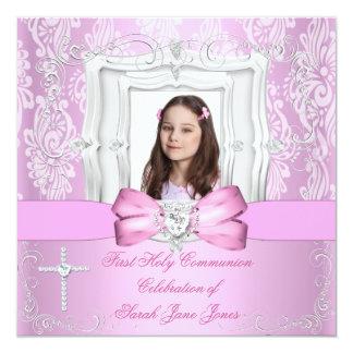 Primera foto rosada bonita de la comunión santa invitación 13,3 cm x 13,3cm