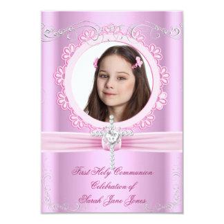 Primera foto rosada bonita de la comunión santa invitación 8,9 x 12,7 cm