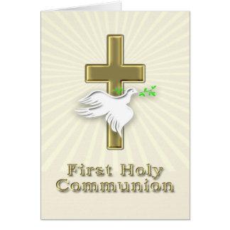 Primera invitación de la comunión con una cruz de tarjeta de felicitación