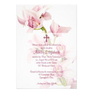 Primera invitación de la comunión de la orquídea r