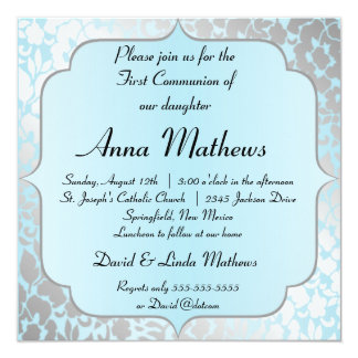 Primera invitación de la comunión del azul