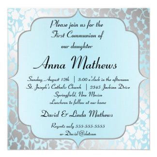 Primera invitación de la comunión del azul metálic