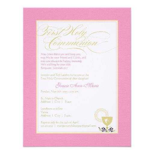 Primera invitación de la comunión del chica - rosa