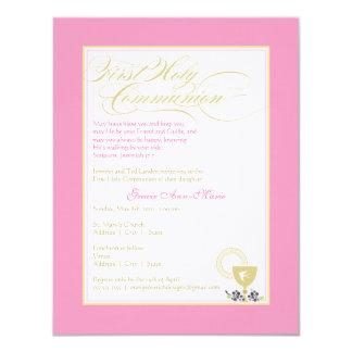 Primera invitación de la comunión del chica - rosa invitación 10,8 x 13,9 cm
