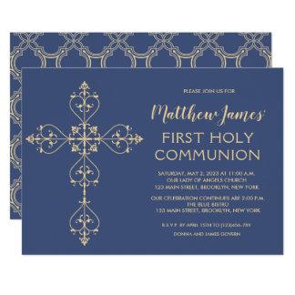 Primera invitación de la comunión del oro elegante