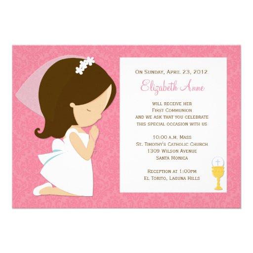 Primera invitación de la comunión para el chica