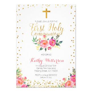 Primera invitación de la comunión santa del chica