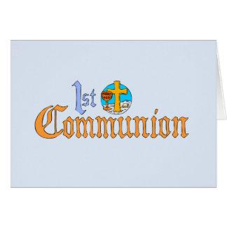 Primera invitación de la comunión santa tarjeta