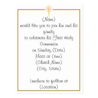 Primera invitación de la comunión santa tarjetas postales